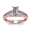 emerald cut diamond slender split side stone engagement ring in 14K rose gold FDENS3131EMRANGLE5 NL RG