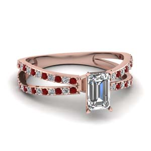 reverse split shank emerald cut diamond engagement ring with ruby in FDENS3134EMRGRUDR NL RG