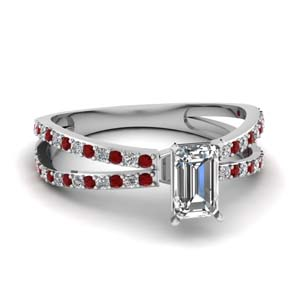 reverse split shank emerald cut diamond engagement ring with ruby in FDENS3134EMRGRUDR NL WG