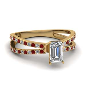 reverse split shank emerald cut diamond engagement ring with ruby in FDENS3134EMRGRUDR NL YG