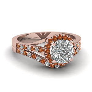 French Pave Halo Diamond Ring Set