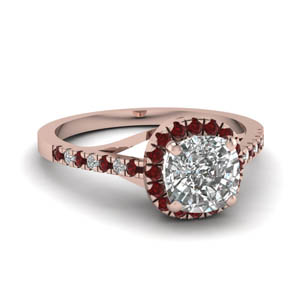French Pave Cushion Diamond Ring