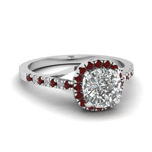 Halo Diamond Ruby Ring
