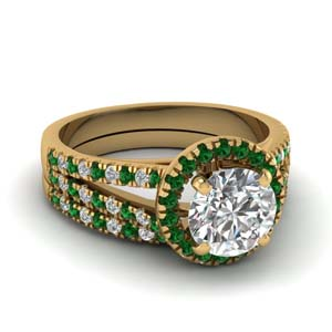 Split Shank Emerald Halo Ring Set