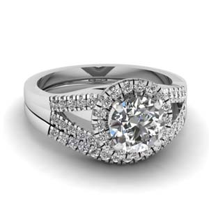 Halo Split Diamond Ring Set