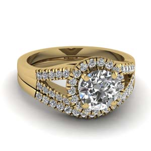 U Prong Diamond Ring Set