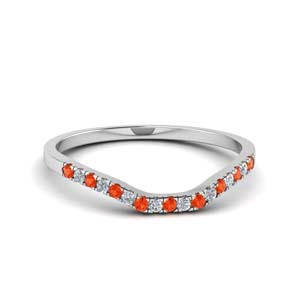 Curve Orange Topaz Wedding Band