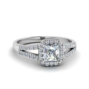 Halo Diamond Split Shank Ring