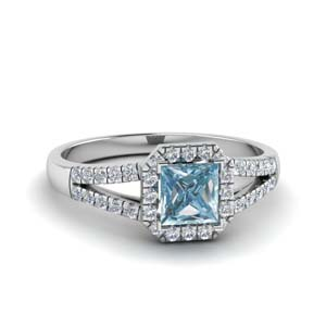 Square Split Aquamarine Halo Ring