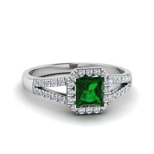 Split Shank Ring With Emerald