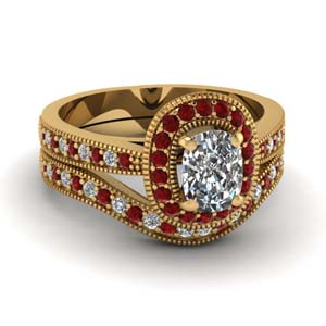 Ruby With Yellow Gold Wedding Set