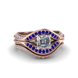 Rose Gold Sapphire Ring Set