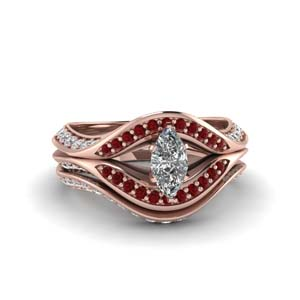 Marquise Shaped Ruby Ring Set