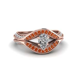 pear shaped split crossover halo diamond engagement ring with orange sapphire in FDENS3165PERGSAOR NL RG