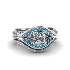 Platinum Princess Cut Ring Set
