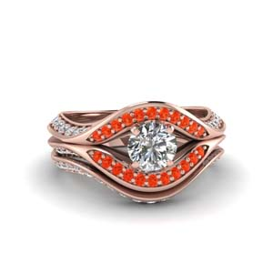 Orange Topaz Split Crossover Ring Set