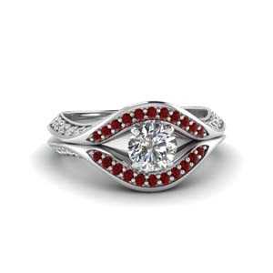 Modern Pave Diamond Ring With Ruby