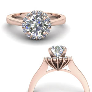 Round Diamond Ring 18K Rose Gold 0.50 Ct.