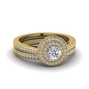 Pave Diamond Double Halo Ring Set