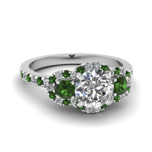 3 Stone Halo Emerald Ring