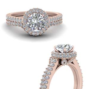 Under Halo Diamond Ring Set