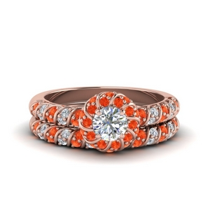 Rope Halo orange Topaz Bridal Set
