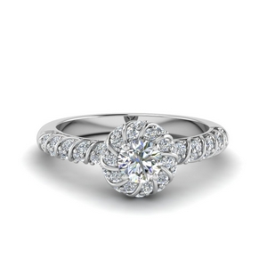Rope Halo Diamond Wedding Ring