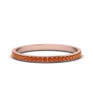 Orange Sapphire Thin Pave Band