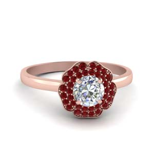 Flower 2 Row Ruby Ring