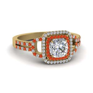 Split Orange Topaz Halo Ring