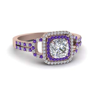 Violet Topaz Ring With Cushion Halo