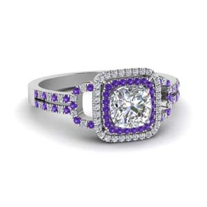 Purple Topaz Double Halo Ring