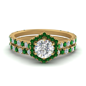 Pave Emerald Wedding Set