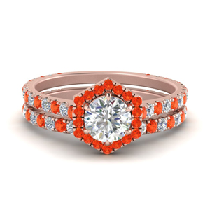 18K Rose Gold Halo Ring Set