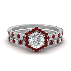 Ruby With Halo Wedding Ring Set