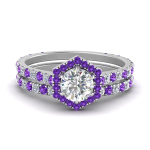 Octagon Purple Topaz Pave Ring Set