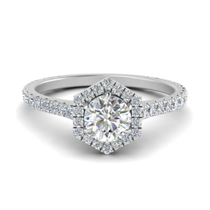 Pave Diamond Halo Ring