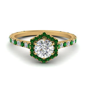 Halo Ring With Emerald