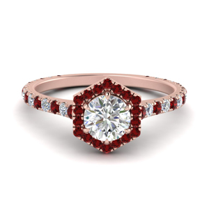 Pave Halo Ring With Ruby