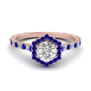 Pave Engagement Ring With Sapphire