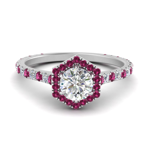 Pink Sapphire Octagon Halo Ring
