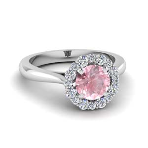 floral halo morganite engagement ring in FDENS3206RORGMO NL WG