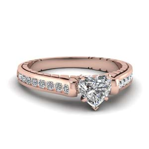 Engraved With Heart Diamond Ring