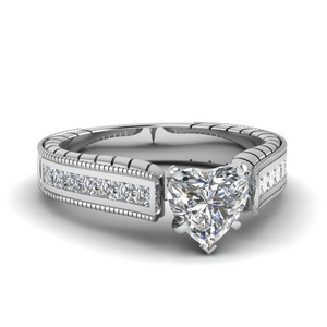 1.50 CT. Heart Diamond Cathedral Ring
