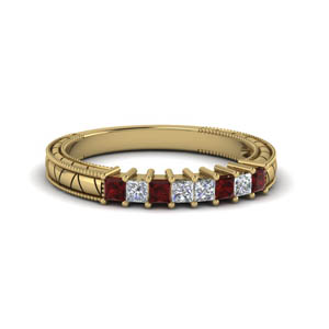 Vintage Diamond Band With Ruby