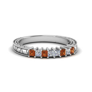 Square Diamond Band With Orange Sapphire