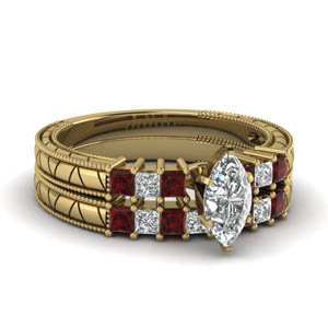 Ruby Accent Marquise Wedding Set