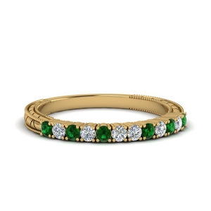 Antique Emerald Wedding Band