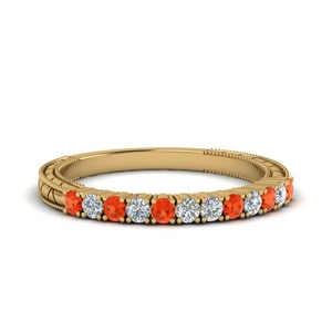 Orange Topaz Antique Diamond Band