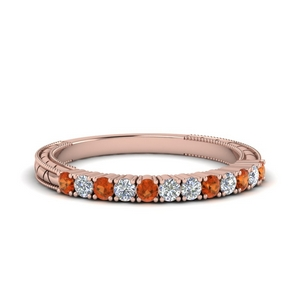 Engraved Orange Sapphire Band